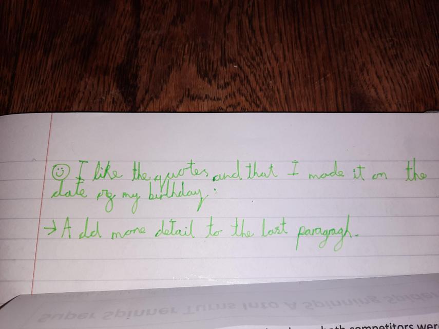Calum's improved sentences for his Newspaper Report