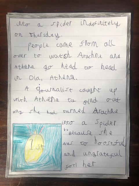 Rex's Newspaper Report on Arachne the Spinner