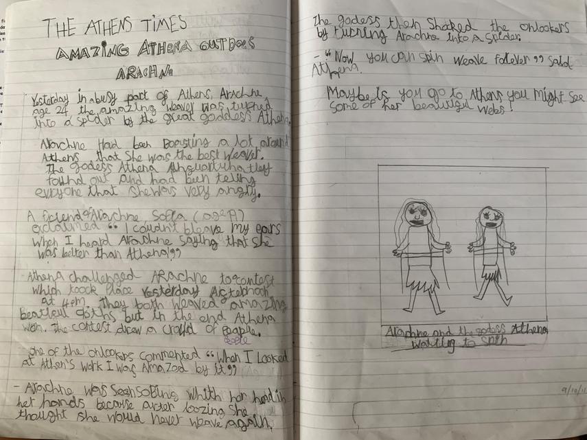 Margot's Newspaper Report on Arachne the Spinner