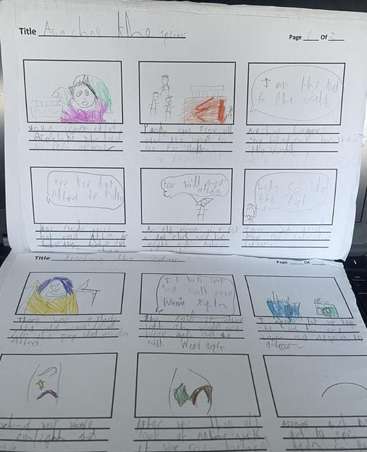 Freddie C's Story Board for Arachne the Spinner