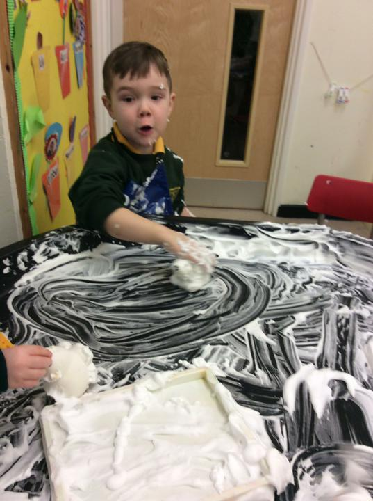 Letter formation in shaving foam