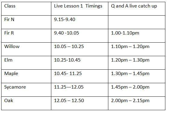 Live lesson timings