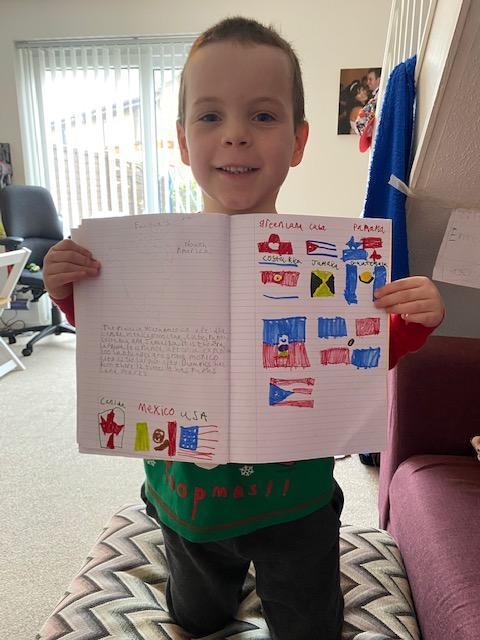Rhys learning his flags
