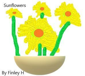 Finley's sunflowers in the style of Van Gogh