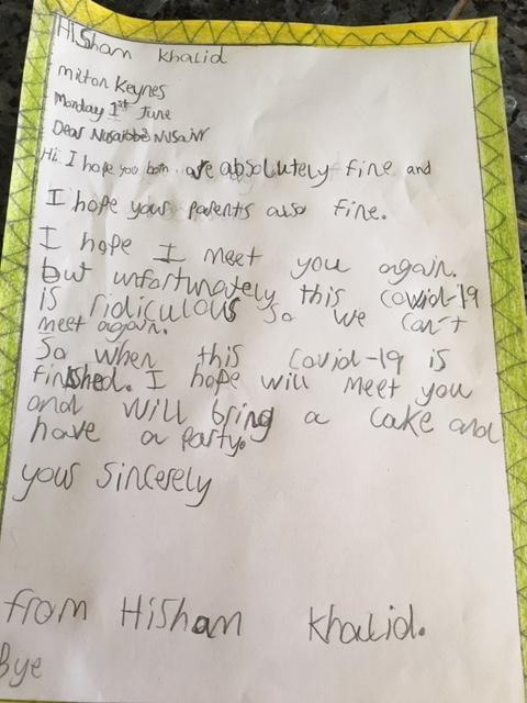 Hisham has written a letter to a friend
