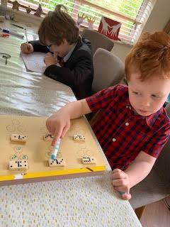 Austin learning his numbers.