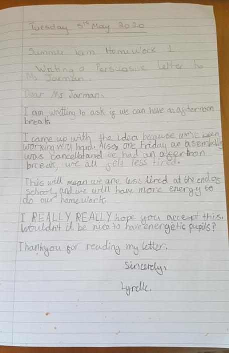 Lyrelle's amazing persuasive letter.