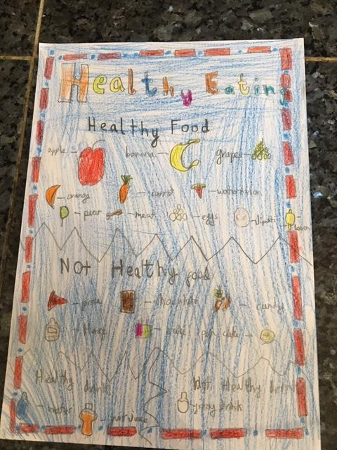Hamid has produced a poster about Healthy Eating