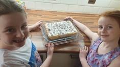 Emily and Olivia having fun baking - delicious!
