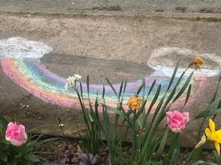 Emma and Hannah's chalk rainbow