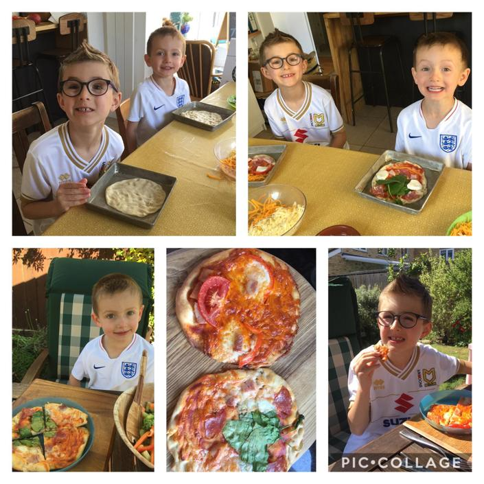 Homemade pizzas prepared by Arthur and Dylan