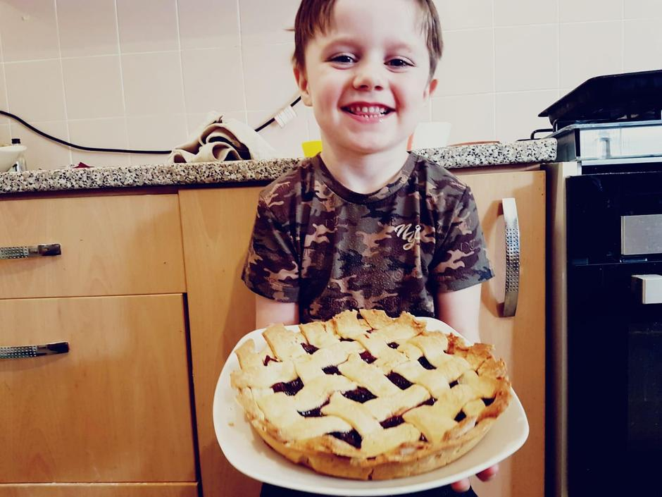 Marshall has made a blueberry pie - yummy!