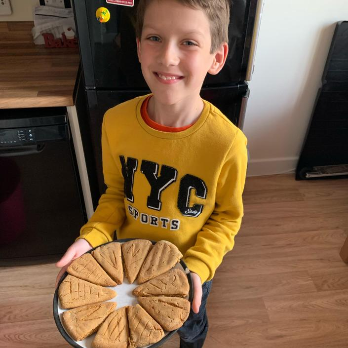 Nathan making ginger bread fractions.