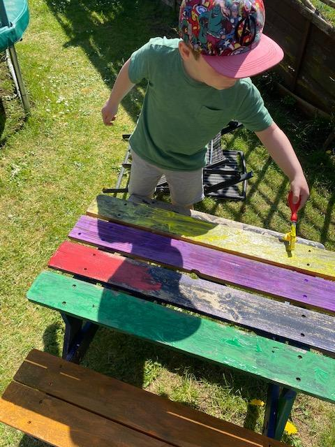 Rhys painting away in the garden