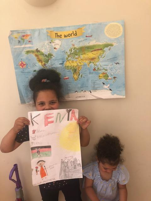Lilah has learnt about Kenya