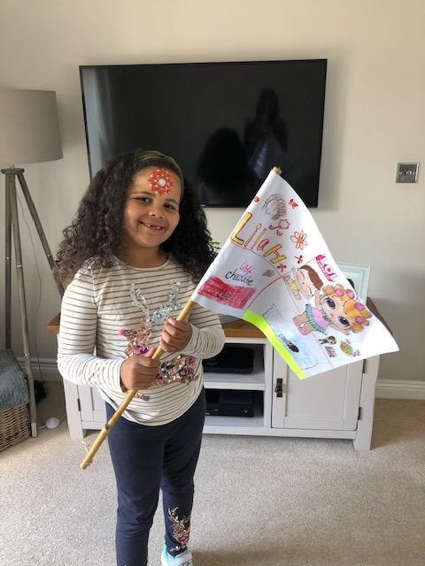 Lilah with her fantastic flag