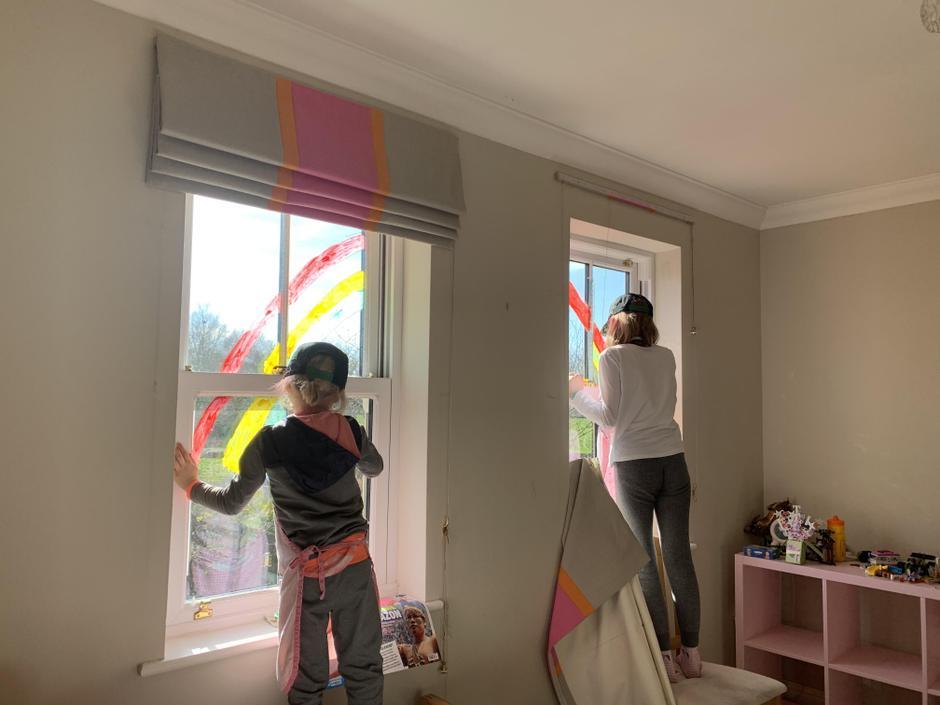 Lottie creating her rainbow