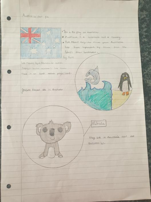 Chloe has created a fact file on Australia