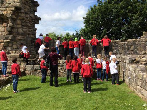 We looked at the ruined walls.