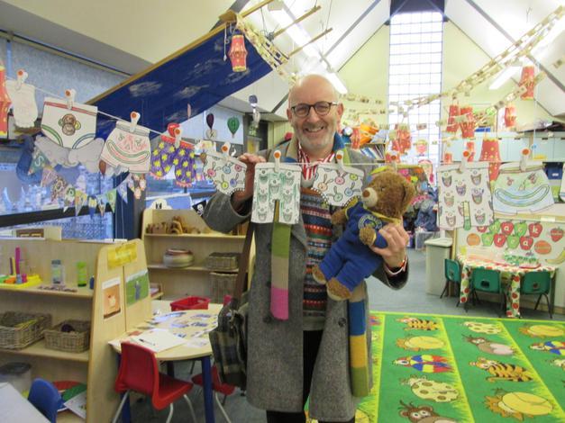 Nick Sharratt the author came to Visit Bradley.