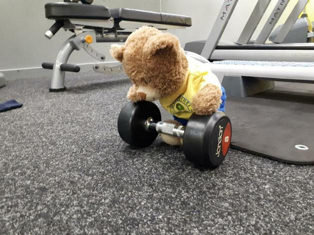 Lifting a few weights.