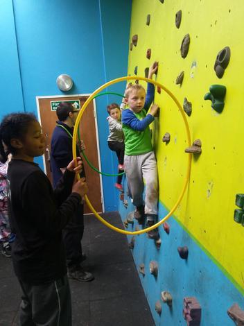 We enjoyed Bouldering- traversing across a wall.