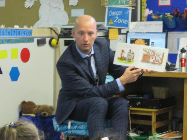 """Mr Woods, our Deputy Head,  read """"Mr Fox's Socks."""""""