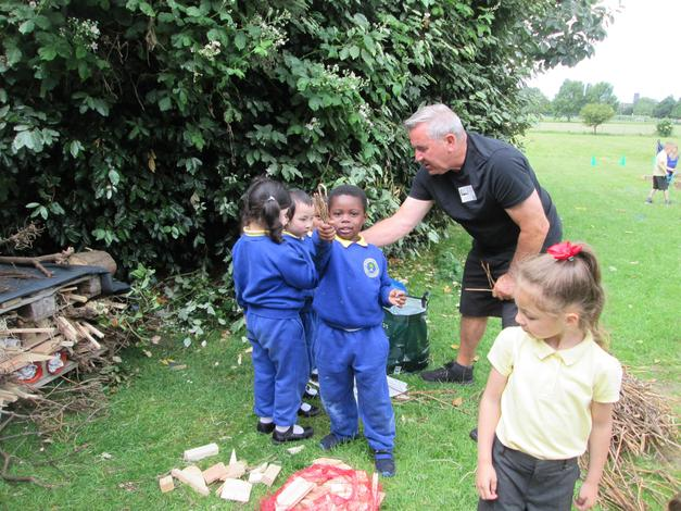 Miss Vaughan's dad, Billy, came to help us make a Bug Hotel