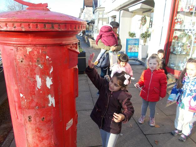 Posting our letters to Father Christmas.