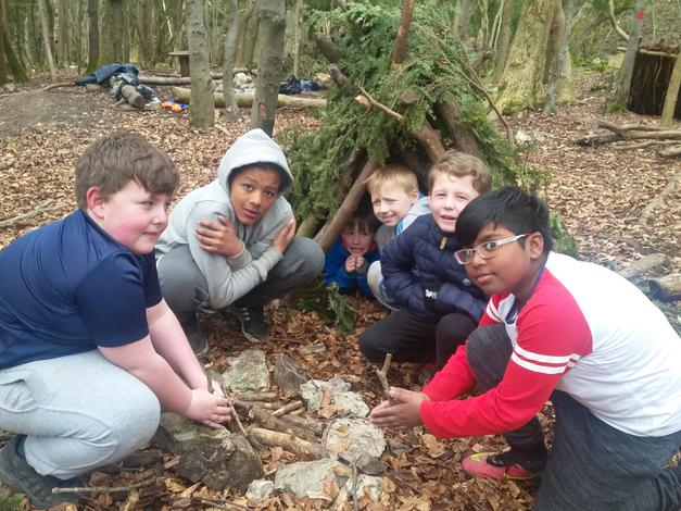 We built our own shelters from natural materials.