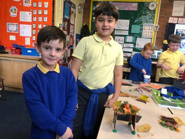 Working in groups making a Sukkah