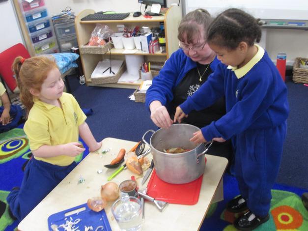 Making vegatable soup for Harvest
