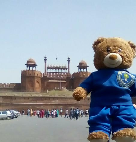 Visiting the Red Fort in Delhi.