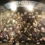 Bradley and the Barcelona football team.