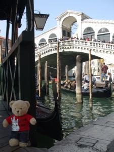 Just in front of the Rialto Bridge in Venice