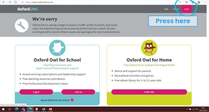 Oxford Owl login 1