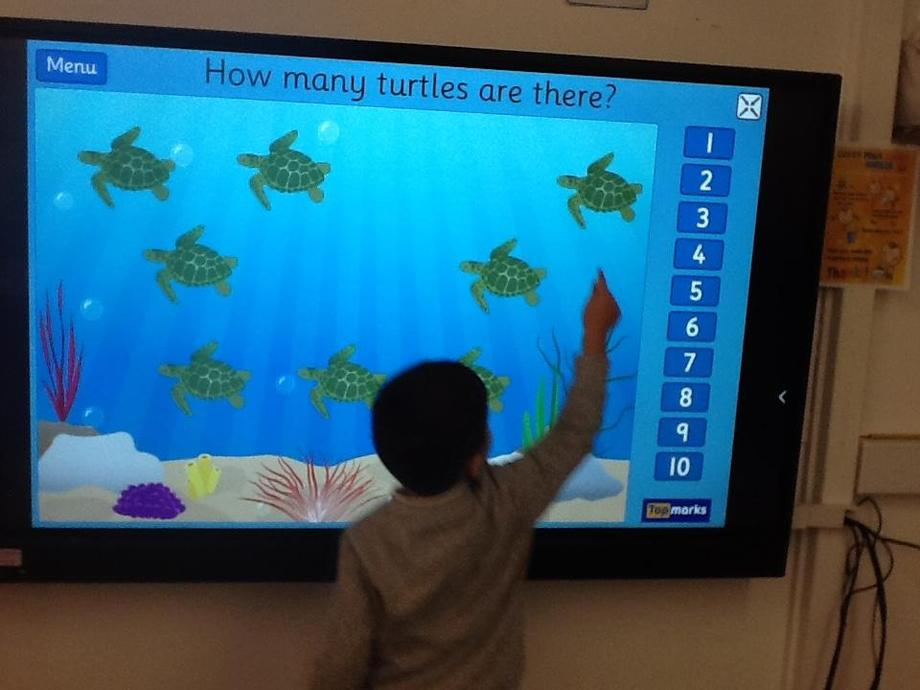 Using our interactive whiteboard in our maths learning.