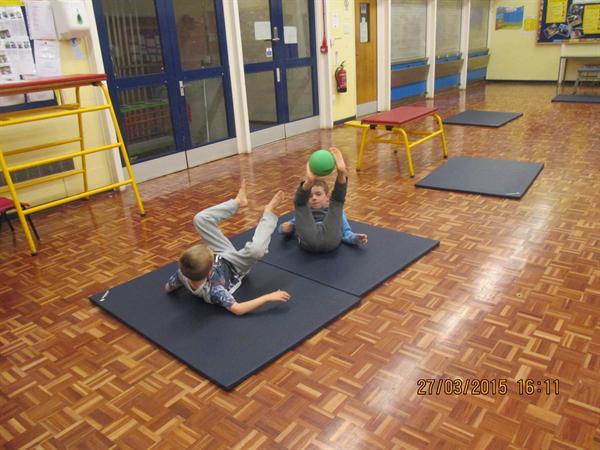 Partner work in gym Club with Mr Speers