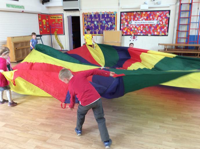 Playing parachute games!