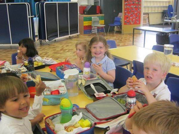 Lunch in the school hall