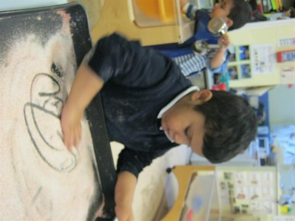 Writing in flour was great!