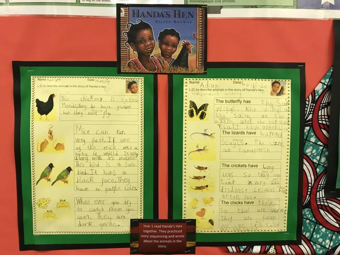 Y1 read the story of Handa's Hen and write descriptions about the animals in the book.