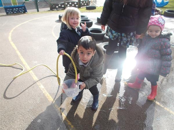 We made our own puddles.
