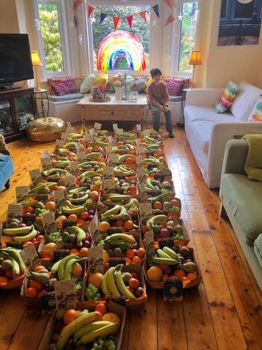 Fawzaan distributing fruit during Ramadan