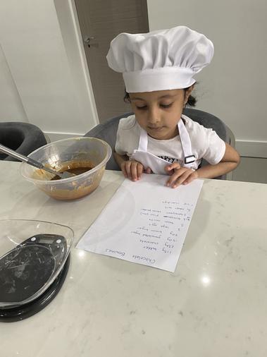 Chef Fatimah making brownies