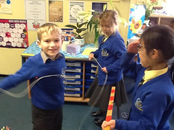 We used metre sticks, gaffer tape and string.