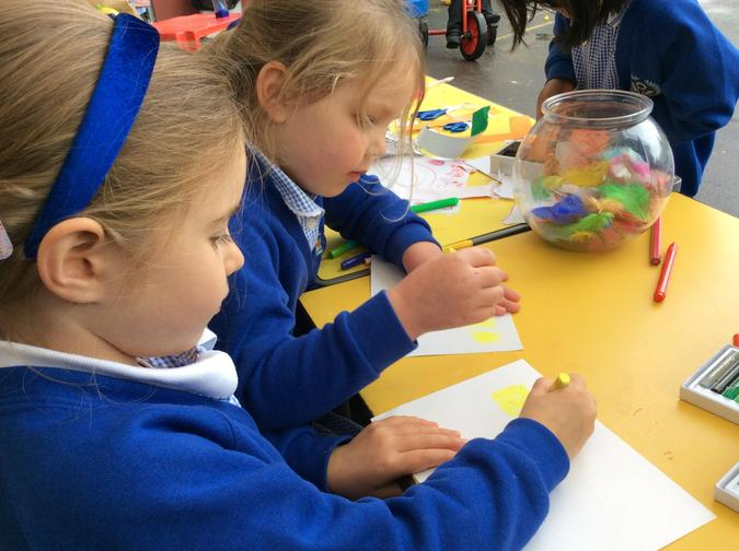 Using vertical lines, zigzags and anti-clockwise circles...
