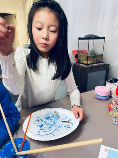 Ella painted some willow patterns for Chinese New Year