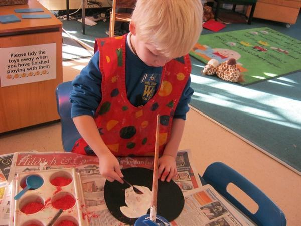 Adding the powder paint
