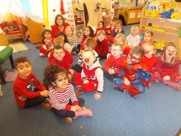 Dressing up in red for Comic Relief.